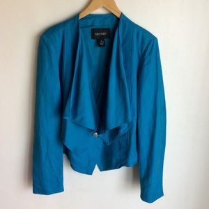 Karen Kane Blue Jacket Draped Lapels. Vest.Size XL